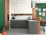Кухня угловая, AGT глянец серый/матовый белый