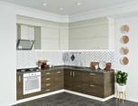 Кухня угловая, AGT матовый, кашемир/светлое дерево