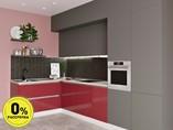 Кухня угловая ТБМ Люкс «Клэр» (3.6х1.2 м, красный/серый)