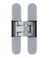 Петля скрытая, 3D, универсальная, 120x23 мм, 60 кг, плюс 4 колпачка, корпус без покрытия  шарнирная часть серебро матовое