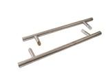 Ручка для алюминиевых дверей со смещением, комплект с креплением, L= 800, м/о 600, D=32, матов.