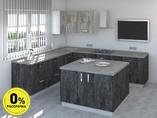 Кухня с островом ТБМ Люкс «Мэрилин» (2.2x2.4x1.2x1.2 м, меланж/антрацит)