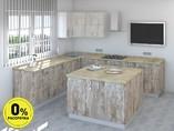 Кухня с островом ТБМ Люкс «Мэрилин» (2.2x2.4x1.2x1.2 м, бежевый/меланж)