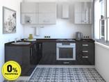 Кухня угловая ТБМ Люкс «Мишель» (1.6x2.4 м, белый/черный)