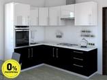 Кухня угловая ТБМ Люкс «Сильвия» (1.6x2.4 м, белый/черный)