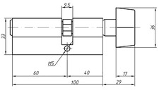 Цилиндр профильный MAXBAR с плоской ручкой CVG/K 40(ручка)/60(ключ),никелированный