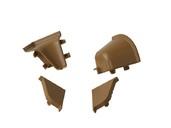 Комплект соединителей овального пристеночного бортика (2 заглушки, 90° внутренний, 90° внешний) пластик, бежевый