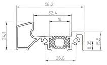 Порог алюминиевый для ПВХ дверей утепленный, (аналог порога Rehau 58х24 мм), 6м