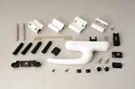 Комплект поворотный, европаз, серебро (ручка,петли,запорные части)