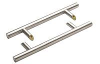 Ручка для алюминиевых дверей со смещением, комплект с креплением L= 1400, м/о 1200, D=32, перф.