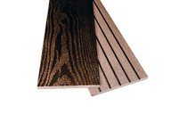 Заборная доска двухсторонняя крупный вельвет с брашингом/текстура дерева шоколад, 125х10х3000 мм