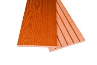 Заборная доска двухсторонняя крупный вельвет с брашингом/текстура дерева терракот, 125х10х3000 мм