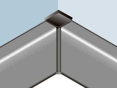 Угловой соед. элемент прямоугольного пристеночного бортика SCILM 90° [внутренний угол] (пластик, серый) Изображение