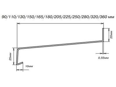 Стальные отливы оконные BAUSET (B=250 мм, L=6 м, коричневый RAL8014) Изображение 2