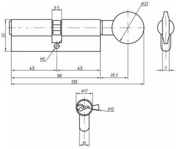 Личинка замка двери с ручкой Roto 45(р)/45(к) (никелированный) Изображение 2