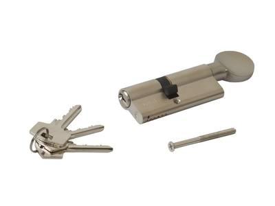 Цилиндр 45(ручка)-35(ключ) с плоской ручкой, никелированный Изображение