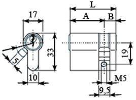 Цилиндр профильный ELEMENTIS 10/50, никелированный Изображение