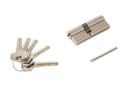 Личинка замка двери Elementis 35/45 (5 ключей перфорированных, никелированный) Изображение