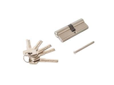 Личинка замка двери Elementis 40/40 (5 ключей перфорированных, никелированный) Изображение