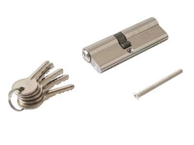 Личинка замка двери Elementis 40/50 (5 ключей, никелированный) Изображение