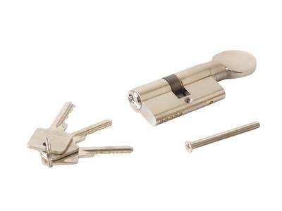 Цилиндр профильный ELEMENTIS с ручкой 30(ключ)/30(ручка), никелированный Изображение 3