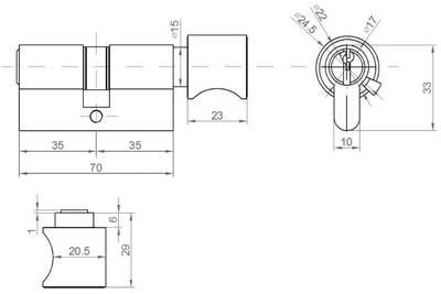 Цилиндр профильный ELEMENTIS с ручкой 35(ключ)/35(ручка), 5 ключей, никелированный Изображение 2
