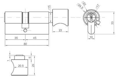 Цилиндр профильный ELEMENTIS с ручкой 35(ключ)/45(ручка), 5 ключей, никелированный Изображение 2