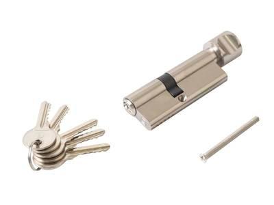Цилиндр профильный ELEMENTIS с ручкой 35(ключ)/45(ручка), 5 ключей, никелированный Изображение