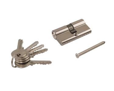 Личинка замка двери Elementis 30/30 (5 ключей, никелированный) Изображение 5