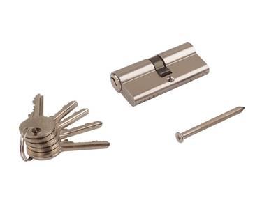 Личинка замка двери Elementis 35/35 (5 ключей, никелированный) Изображение 4