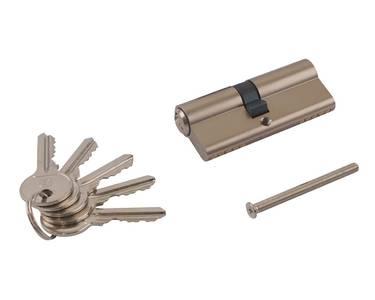 Личинка замка двери Elementis 35/40 (5 ключей, никелированный) Изображение