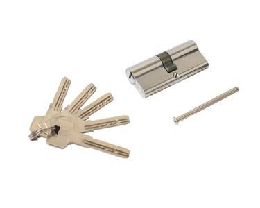 Цилиндр профильный ELEMENTIS 35(ключ)/35(ключ) ЦАМ, 5 перфорированных ключей, никелированный Изображение