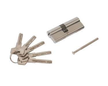 Цилиндр профильный ELEMENTIS 35(ключ)/45(ключ) ЦАМ, 5 перфорированных ключей, никелированный Изображение