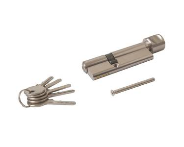 Цилиндр профильный ELEMENTIS 35(ключ)/55(ручка), 5 ключей, никелированный Изображение