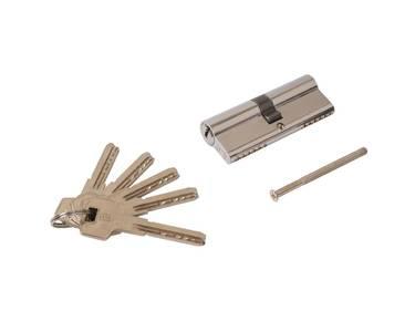 Цилиндр профильный ELEMENTIS 40(ключ)/40(ключ) ЦАМ, 5 перфорированных ключей, никелированный Изображение