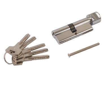 Цилиндр профильный ELEMENTIS 40(ключ)/40(ручка) ЦАМ, 5 перфорированных ключей, никелированный Изображение