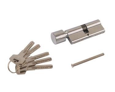 Цилиндр профильный ELEMENTIS 40(ключ)/40(ручка) ЦАМ, 5 перфорированных ключей, никелированный Изображение 2