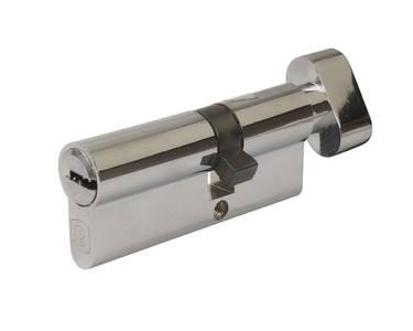 Цилиндр профильный ELEMENTIS 45(ключ)/35(ручка) ЦАМ, 5 перфорированных ключей, никелированный Изображение 2