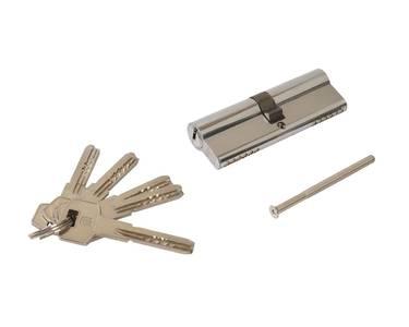 Цилиндр профильный ELEMENTIS 45(ключ)/45(ключ) ЦАМ, 5 перфорированных ключей, никелированный Изображение
