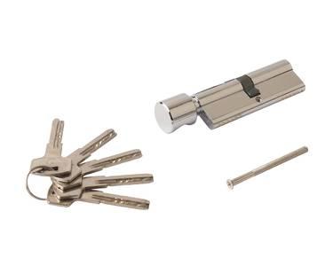 Цилиндр профильный ELEMENTIS 45(ключ)/45(ручка) ЦАМ, 5 перфорированных ключей, никелированный Изображение 2