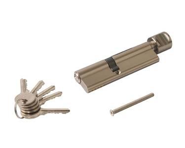 Цилиндр профильный ELEMENTIS  45(ключ)/60(ручка D), никелированный Изображение