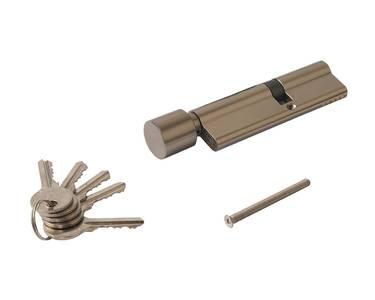 Цилиндр профильный ELEMENTIS  45(ключ)/60(ручка D), никелированный Изображение 2