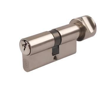 Цилиндр профильный ELEMENTIS с ручкой 35(ключ)/35(ручка), 5 ключей, никелированный Изображение