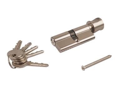 Личинка замка двери с ручкой Elementis 35(к)/35(р) (5 ключей, никелированный) Изображение 2