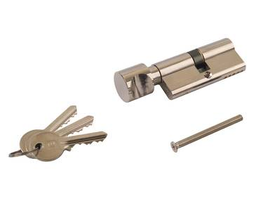 Цилиндр профильный ELEMENTIS с ручкой 35(ключ)/35(ручка), никелированный Изображение 2