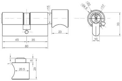 Личинка замка двери с ручкой Elementis 35(р)/45(к) (5 ключей, никелированный) Изображение 2