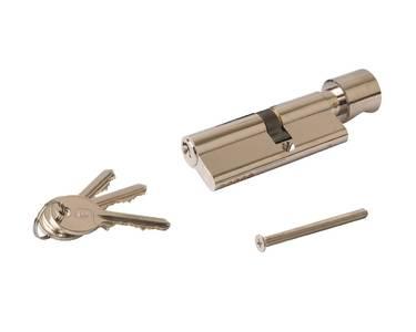 Цилиндр профильный ELEMENTIS с ручкой 35(ручка)/45(ключ), никелированный Изображение