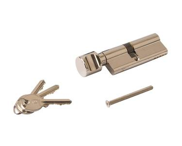 Цилиндр профильный ELEMENTIS с ручкой 35(ручка)/45(ключ), никелированный Изображение 2