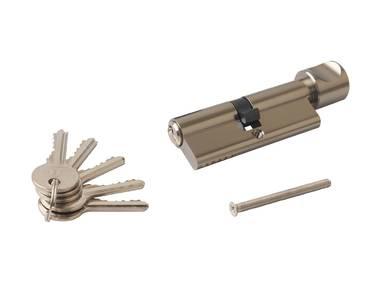 Цилиндр профильный ELEMENTIS с ручкой 40(ключ)/40(ручка), 5 ключей, никелированный Изображение