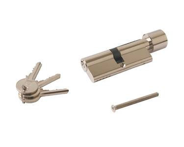 Цилиндр профильный ELEMENTIS с ручкой 40(ключ)/40(ручка), никелированный Изображение